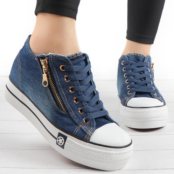 Fashion Women Sneakers Casual Shoes Tenis Canvas Shoes Ladies Lace Up Trainers - 2tx1