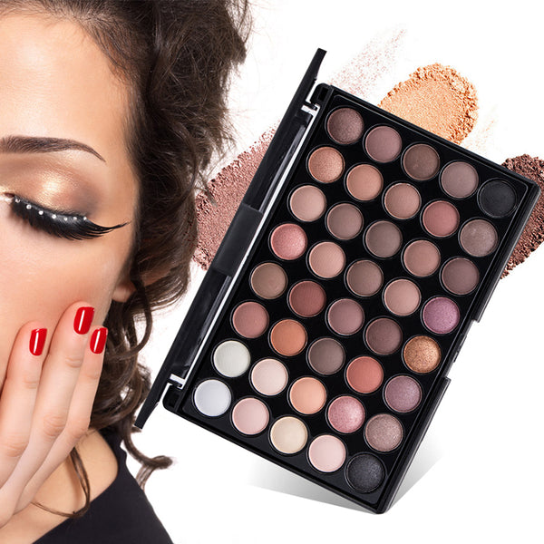 40 Colors Matte Shimmer Eyeshadow Makeup Palette Earth Color Eye Shadow Pallete Pearl Long Lasting Makeup  Cosmetic Set  TSLM1 - 2tx1