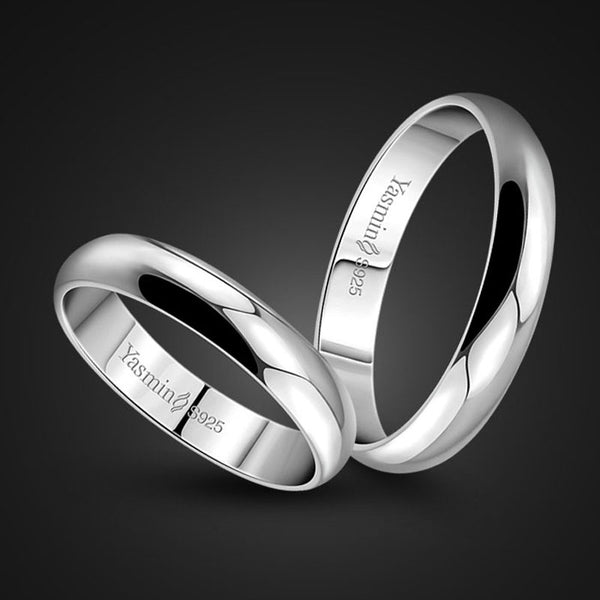 Simple marriage engagement ring Solid silver couple ring silver jewelry 2020 New Design Rings - 2tx1