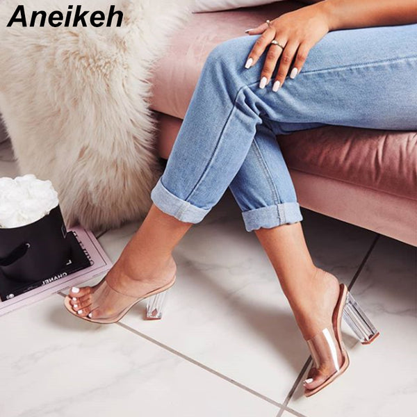 Aneikeh New Women Sandals Jelly Crystal Heel Transparent Women Sexy Clear High Heels Summer Sandals - 2tx1