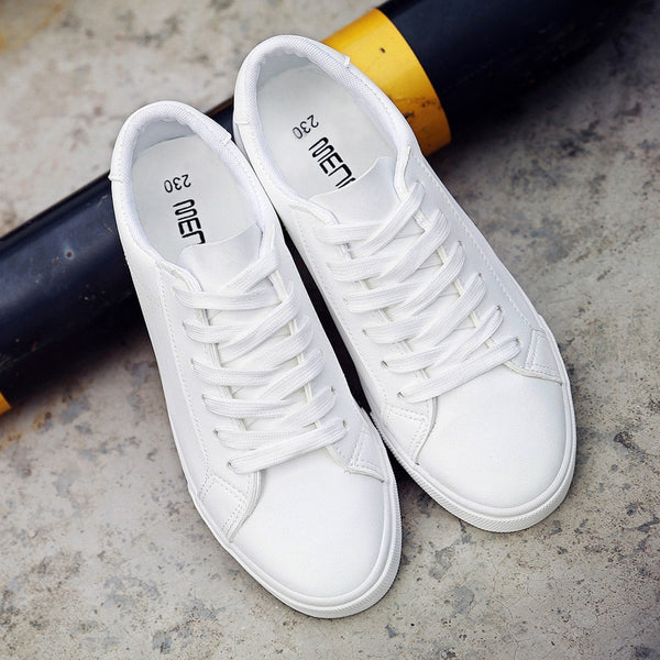 2020 new spring tenis lace-up white shoes woman PU Leather solid color female shoes - 2tx1