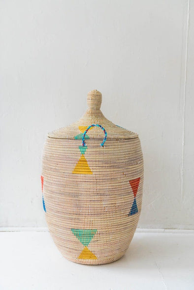 White With Multi-Color Triangles Basket - Tackussanu Senegal