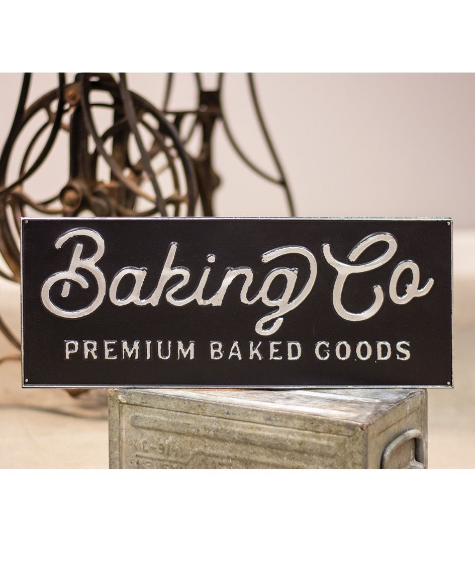 Black and Galvanized Metal Baking Co. Enamel Sign