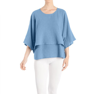 Double Layer Gauze Tunic - Denim Blue