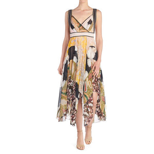 V-Neck Printed Chiffon Dress - Biscuit Print