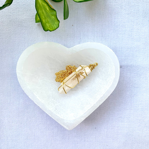 Selenite Heart Trinket Bowl Crystals- The crystal project