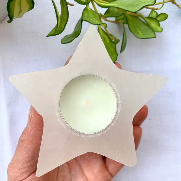 Selenite Star Tealight Holder Crystals- The crystal project
