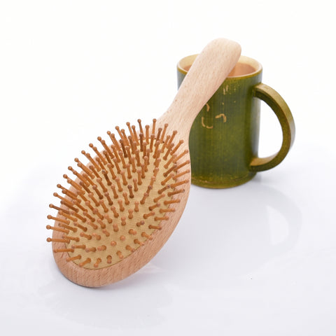 Beech Round Carbonized Teeth Hair Comb Scalp Stress Release Activating Blood
