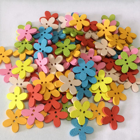Image of  Pack of 100 Cute Multi Color Flower Buttons Mixed Wood Buttons Sewing Scrapbooking DIY Craft 2 Holes