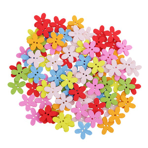 Pack of 100 Cute Multi Color Flower Buttons Mixed Wood Buttons Sewing Scrapbooking DIY Craft 2 Holes