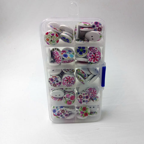 Image of 100 Pieces Wooden Buttons Flower Printed Buttons 2-hole Buttons in Box for DIY Sewing Crafts