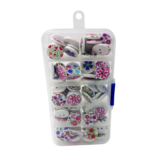 100 Pieces Wooden Buttons Flower Printed Buttons 2-hole Buttons in Box for DIY Sewing Crafts