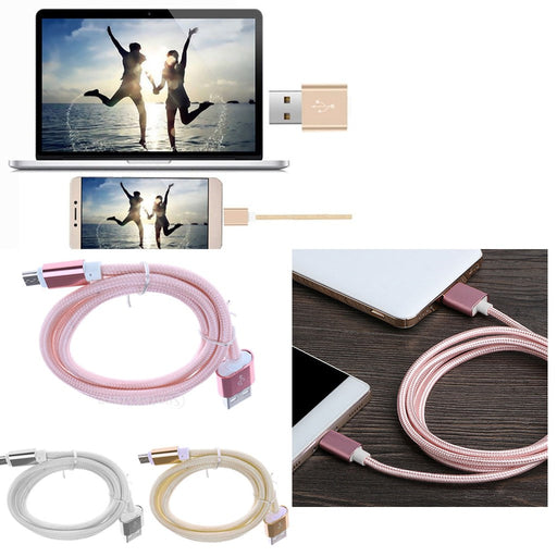 Micro USB Sync Data Charger Charging Cable Cord for Samsung Smartphone Gold