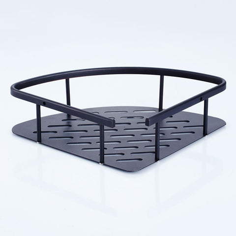 Image of Triangle Shower Shelf Bathroom Storage Basket Rack Rust Resistant Black