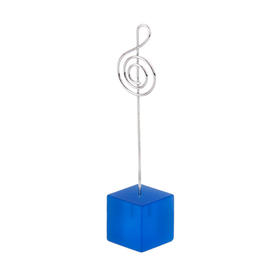 Blue Cube Base Card Picture Memo Photo Clip Holder Music Notation Wire Clip