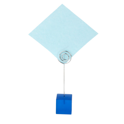 Image of Blue Cube Base Card Picture Memo Photo Clip Holder Music Notation Wire Clip