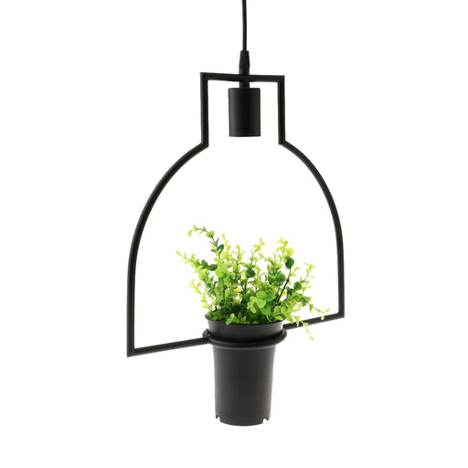 Black Geometric Iron Ceiling Lamp Pendant Light Plants Flower Pots Light Fixture #4