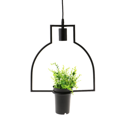 Image of Black Geometric Iron Ceiling Lamp Pendant Light Plants Flower Pots Light Fixture #4