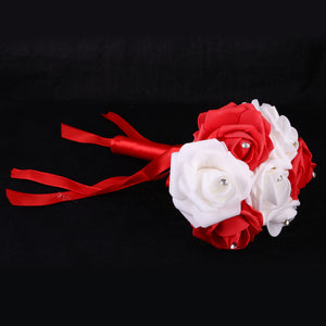 Wedding Bridal Bridesmaid Engagement Photo Props Rose Foam Flowers Bouquet Red And White