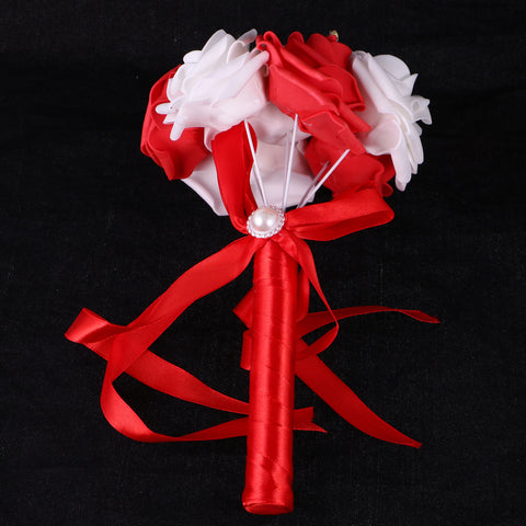 Image of Wedding Bridal Bridesmaid Engagement Photo Props Rose Foam Flowers Bouquet Red And White
