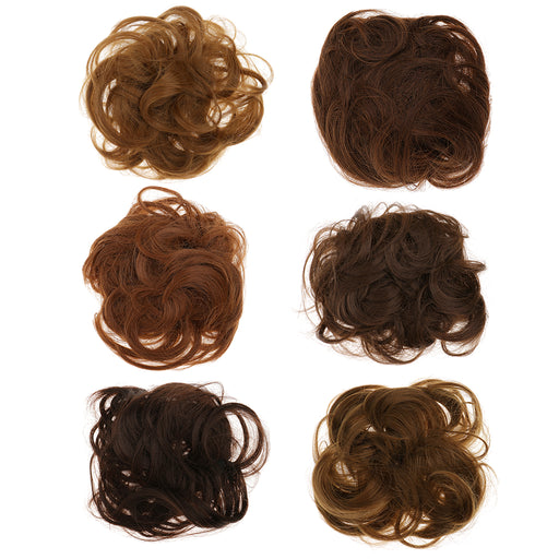 Women Girls Artificial Hairs Wavy Curly Drawstring Synthetic Hair Bun Cover  Hairpiece Hair Extension #6