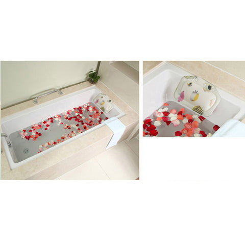 Image of Home Bathroom Use Neck Spa Support Relax Shower Foam Sponge Soft Bathtub Pillow Sea Fish Pattern Charms Bath Headrest Suction Cup