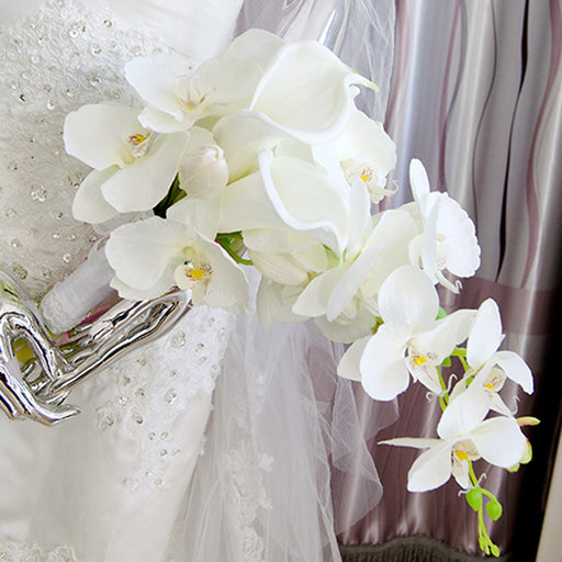 Elegant Cascade Waterfall Bouquet Wedding Bridal Artificial Silk Flower Calla Lily Orchids Hand Tied Flower Decoration