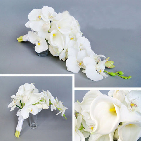 Image of Elegant Cascade Waterfall Bouquet Wedding Bridal Artificial Silk Flower Calla Lily Orchids Hand Tied Flower Decoration