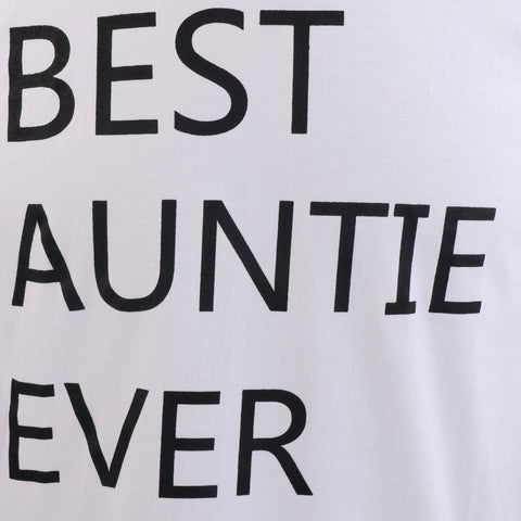Image of Best Auntie Ever Festive Birthday Gift for Aunt from Nephew or Niece O-Neck Women T-Shirt L White