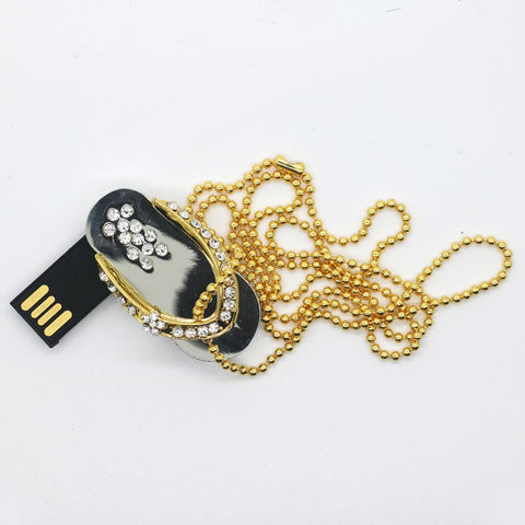 Image of Crystal Shoes Shape Pen Drive USB2.0 Disk Flash Drive Memory for Laptop Computer Silver 8G