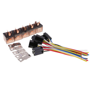 5 Pieces DC12V 80Amp Car SPDT Automotive Relay 5-Pin 5 Wires Harness Socket Kits for Car Boat