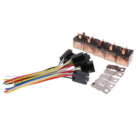 Image of 5 Pieces DC12V 80Amp Car SPDT Automotive Relay 5-Pin 5 Wires Harness Socket Kits for Car Boat