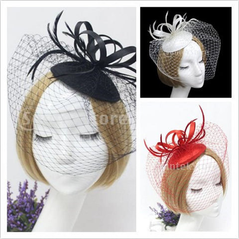 Image of Women Girls Ladies Fashionable Fascinator Satin Veil Feather Hat Wedding Party Banquet Night Out Accessory Black