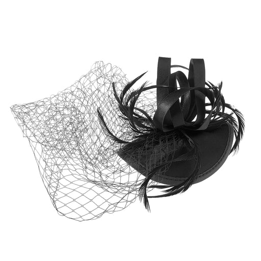 Women Girls Ladies Fashionable Fascinator Satin Veil Feather Hat Wedding Party Banquet Night Out Accessory Black