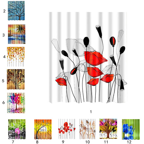 Image of Home Bathroom Shower Room Decor Charms Colorful Fabric Bath Shower Curtain With Hooks Ring 1#
