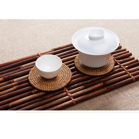 Image of Fashionable Handmade Bamboo Serving Tray Eco-Friendly Service Tray Food Holder Organizer Coaster Table Centerpiece Decor #3