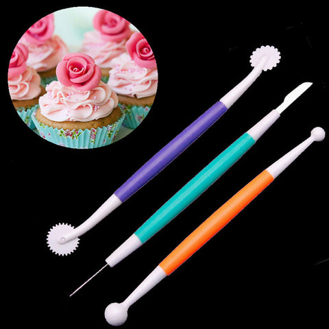 Image of 3 Piece Plastic Cake Decorating Paste Sugar Flower Sculpture Modelling Tool