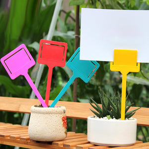 20x Plastic Tags Markers Garden Seed Packet Plant Flower Labels Holder Green