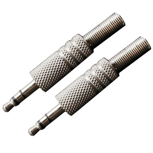 2x Alloy Copper Guitar Amp Audio Plugs 3.5mm Metal Spring Straight Connector