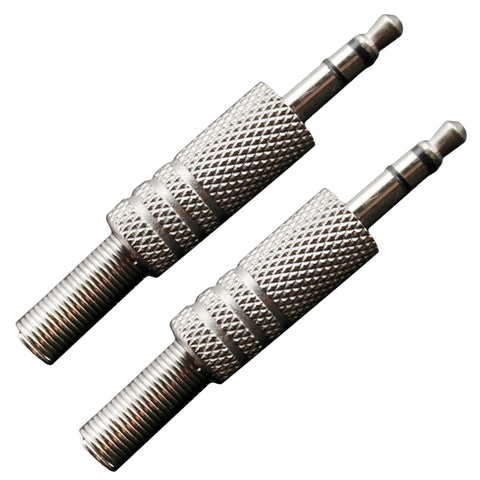 Image of 2x Alloy Copper Guitar Amp Audio Plugs 3.5mm Metal Spring Straight Connector