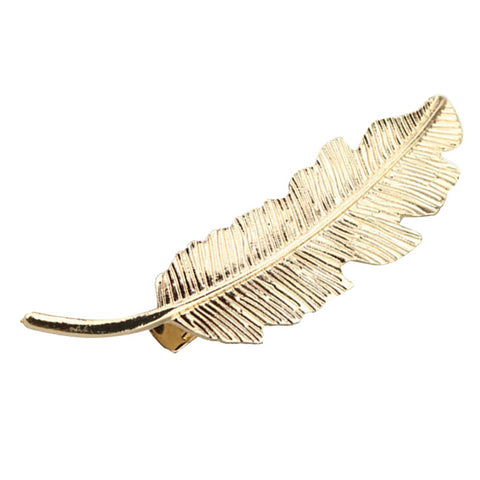 Image of Vintage Bronze Bohemia Leaf Feather Shape Hair Pin Clip Alligator Bobby Pin Lady Party Wedding Hair Jewelry