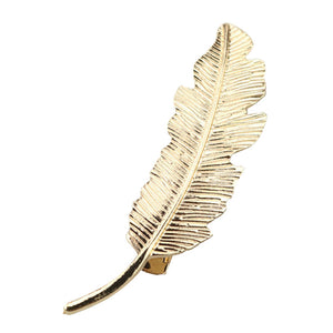 Vintage Bronze Bohemia Leaf Feather Shape Hair Pin Clip Alligator Bobby Pin Lady Party Wedding Hair Jewelry