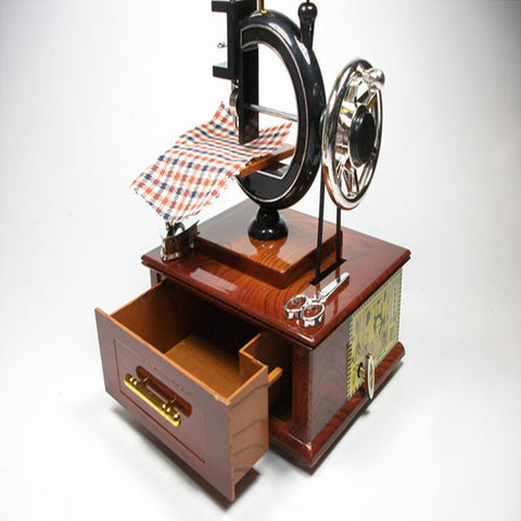Image of Vintage Mini Treadle Sewing Machine Music Case Plastic Musical Box For Home Decor