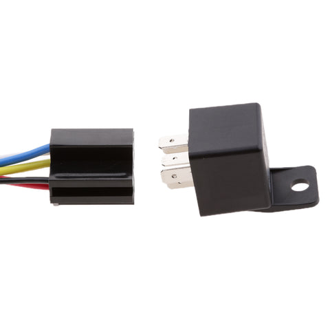 Image of 3 Pieces 24V 40A 5 Pin SPDT Relay With Socket Harness Automotive Electronic