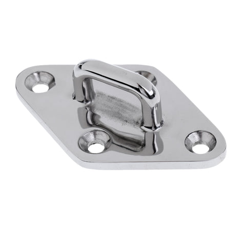 Image of Heavy Duty Boat Diamond Pad Eye Hook Plate - Marine Grade 316 Stainless Steel