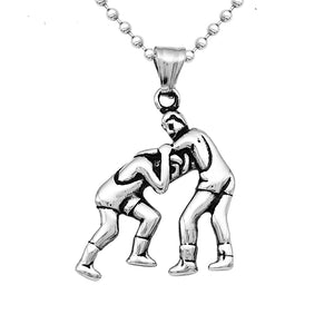 Mens Stainless Steel Two People Wrestling Athletic Fitness Pendant Chain Fitness Gym Charms Lucky Necklace