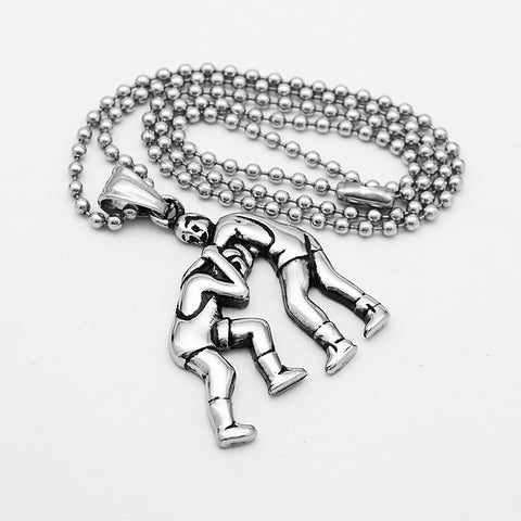 Image of Mens Stainless Steel Two People Wrestling Athletic Fitness Pendant Chain Fitness Gym Charms Lucky Necklace