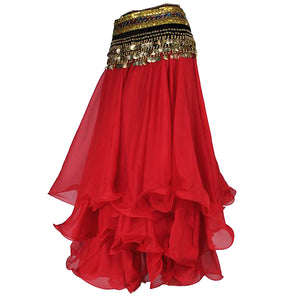 Belly Dance Skirt Chiffon Full Circle Dress Costume Clothes - Red