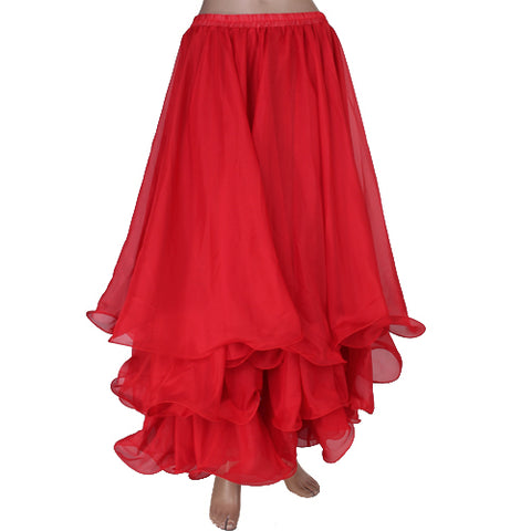 Image of Belly Dance Skirt Chiffon Full Circle Dress Costume Clothes - Red