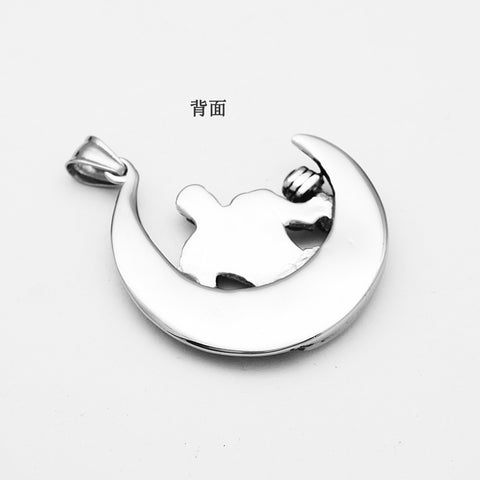 Image of Silver Stainless Steel Muscle Men Sports Gym Dumbbells Weight Lifting Moon Pendant Necklace Hippy Biker Jewelry